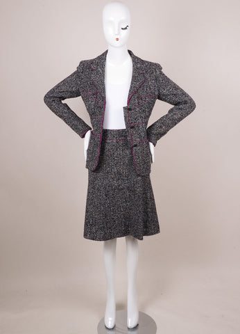Black, White, and Purple Tweed Skirt Suit