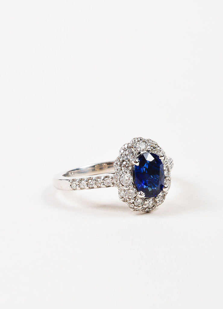 "14K White Gold, Blue Sapphire, and Diamond ""Kate Middleton"" Engagement Ring Sideview"