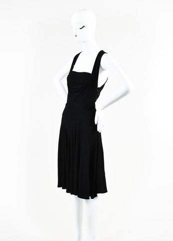 Alaia Black Jersey Sleeveless Drape Dress Sideview