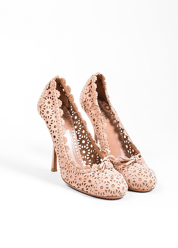 Blush Nude Alaia Suede Floral Perforated Round Toe High Heel Pumps Frontview