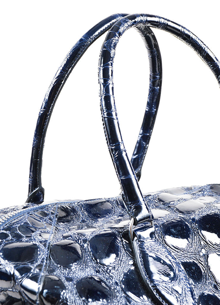 Navy Alaia Patent Leather Alligator Effect Large Satchel Bag Detail 2