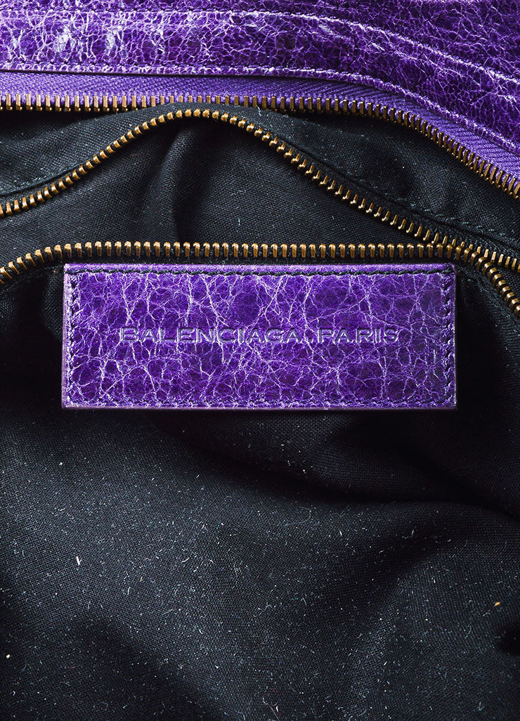 "Balenciaga Purple Wrinkled Leather Brass Stud Fringe ""Classic Step"" Shoulder Bag Brand"