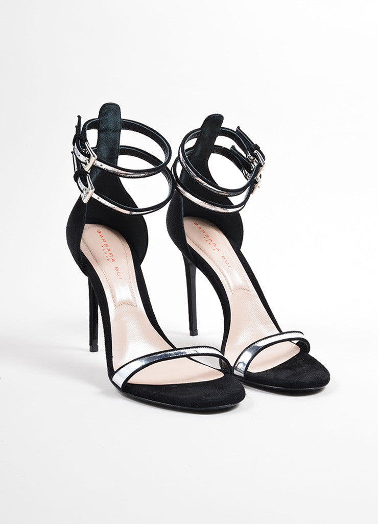 "Barbara Bui Black and Silver Suede ""Cameron"" Ankle Strap Sandals Frontview"