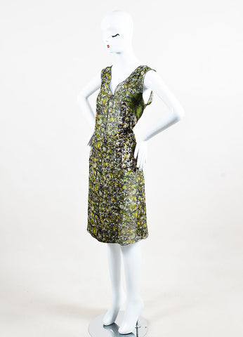 Green Black Yellow Bottega Veneta Silk Printed Sleeveless Dress Side