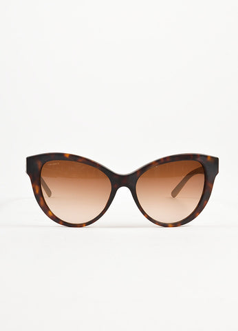 Burberry Brown Matte Tortoise Shell Silver Embossed Cat Eye Sunglasses Frontview
