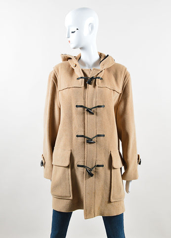 Burberry Tan Wool Toggle Hooded Duffle Coat Frontview