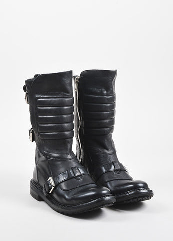 "Burberry Black Leather Tri Buckled Calf High ""Egerton"" Moto Boots Frontview"