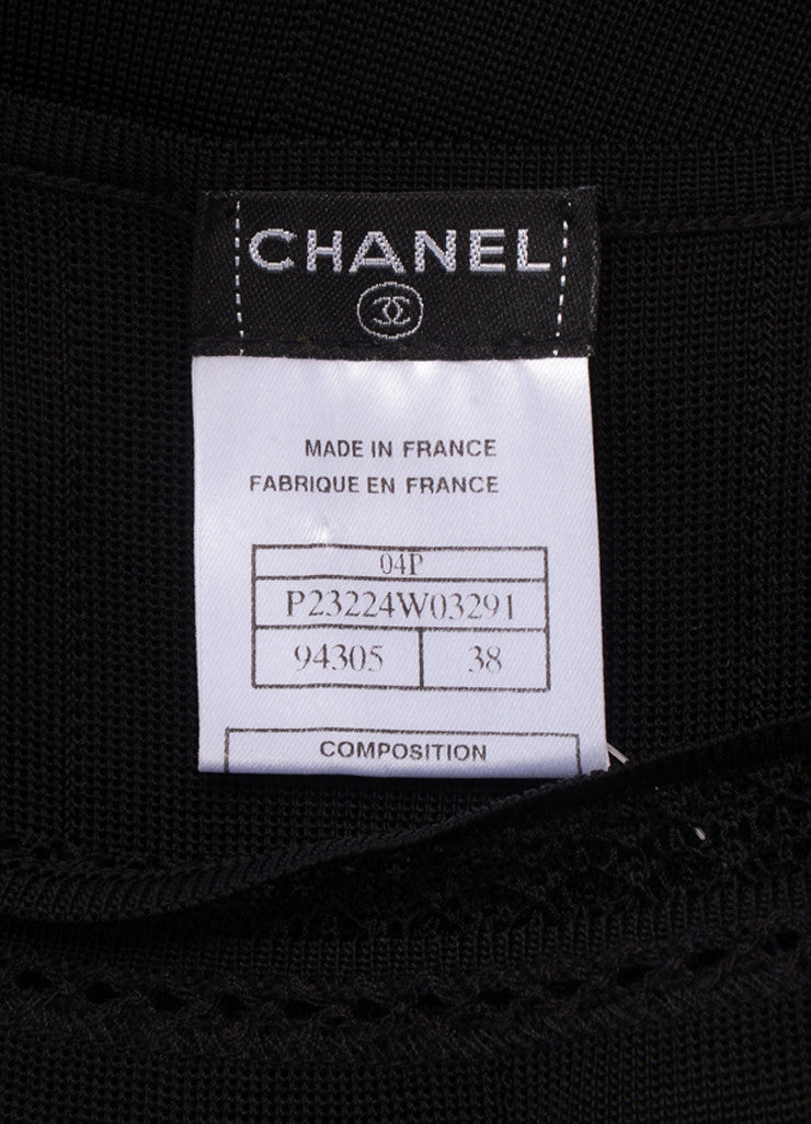 Chanel Black Knit Pleated Sleeveless Dress Brand