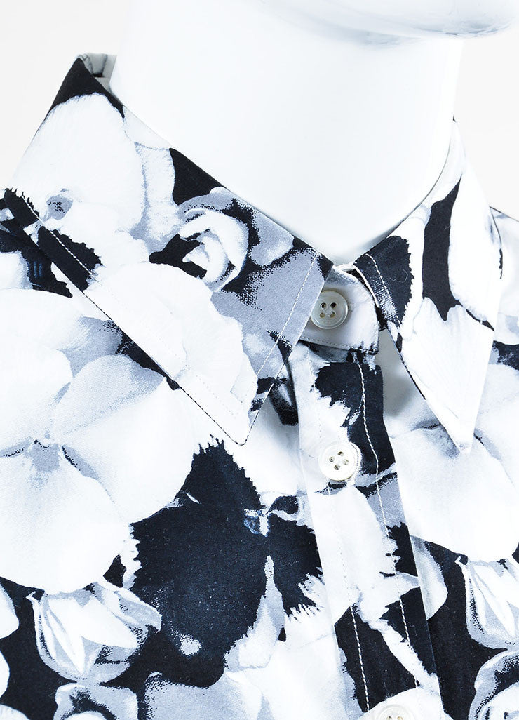 Black, White, and Grey Carolina Herrera Cotton Floral Print Button Down Shirt Detail