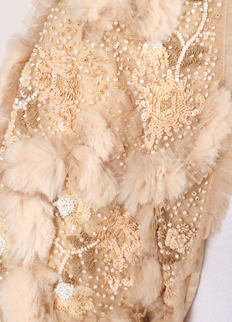 Cassin Beige Sequin Bead and Faux Fur Embellished Crop Evening Shrug Detail