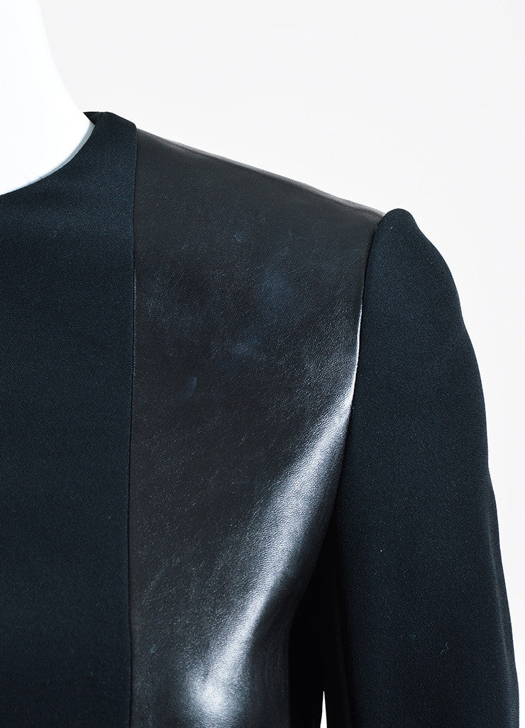 Black Celine Leather and Knit Combo Long Sleeve Top Detail