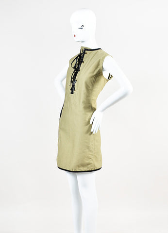 Celine Olive Green and Black Cotton Leather Trim Tie Front Dress Sideview