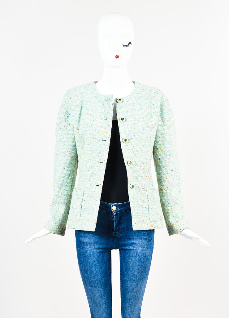 Chanel Light Green Wool Blend Color Flecked 'CC' Button Tweed Jacket Frontview