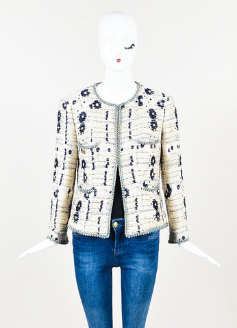 Chanel Cream and Navy Blue Flower Woven Boucle Bead Trim Jacket Frontview 2
