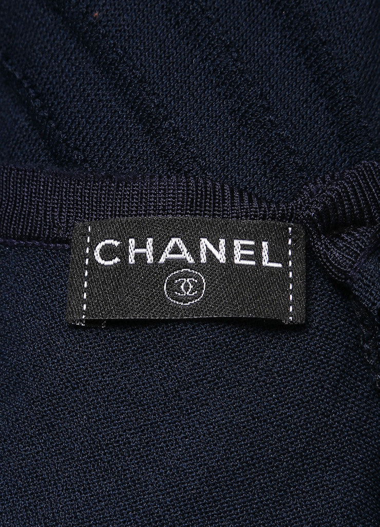 Chanel Navy Slinky Knit Jersey Lace Trim and Pleated Sleeveless Dress Brand