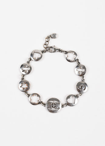 Chanel Gunmetal Chain Link Circle Cut Out Logo Charm Bracelet Frontview