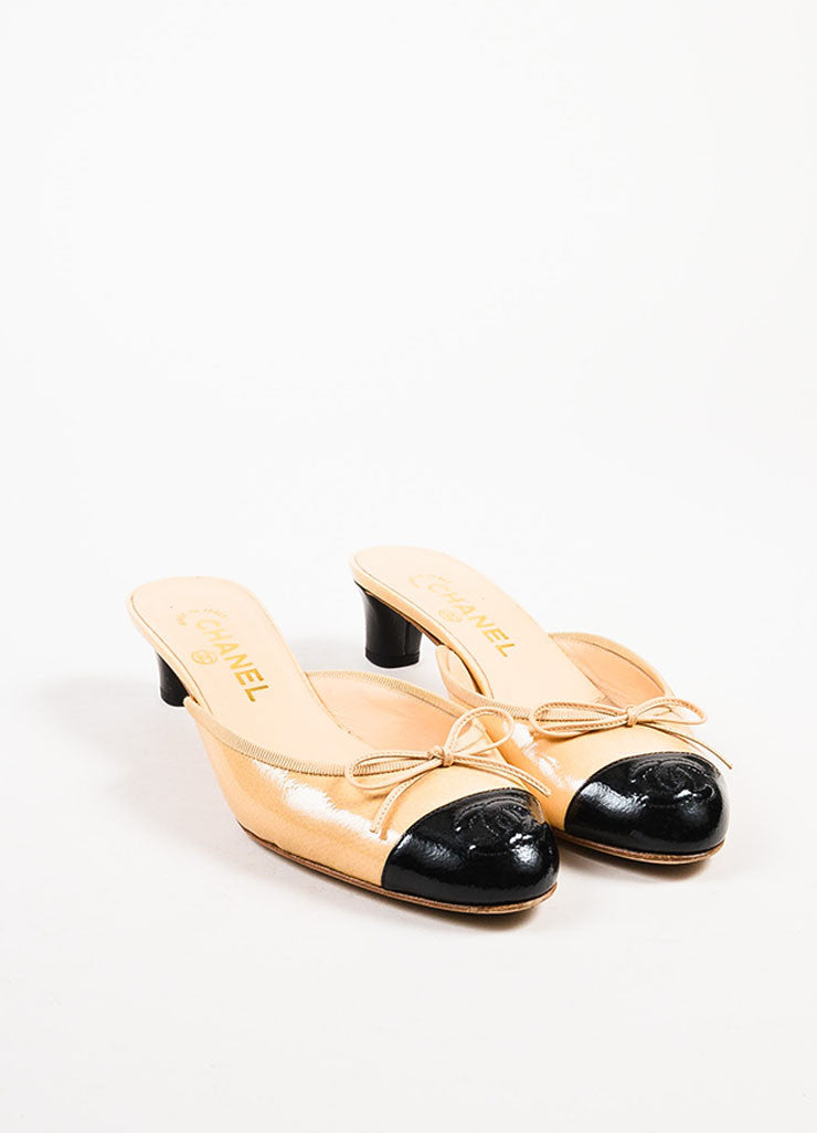 Chanel Beige and Black Patent Leather Cap Toe Bow Detail Mules frontview