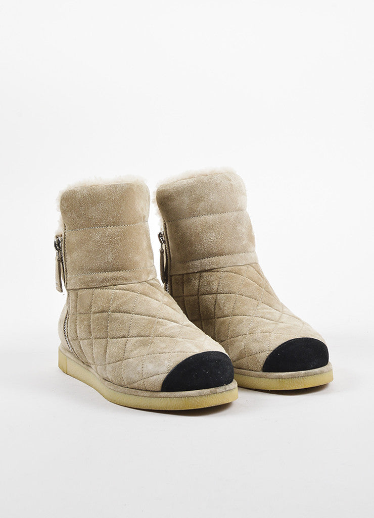 Chanel Beige Suede Shearling Quilted Cap Toe Ankle Boots Frontview