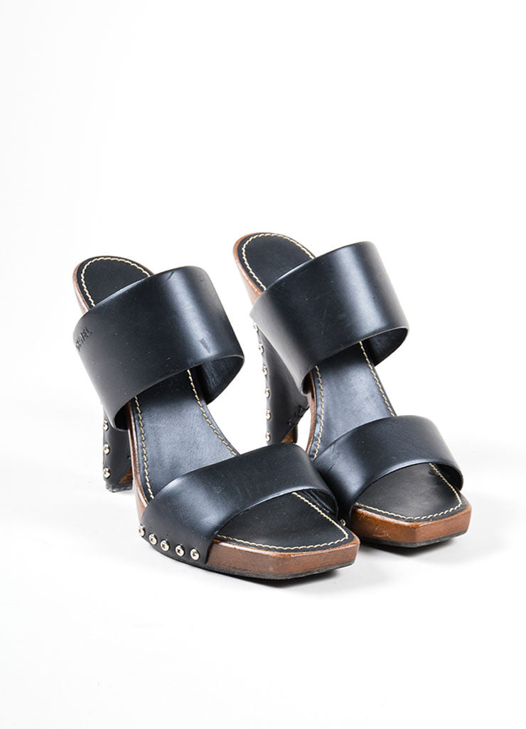 Black and Brown Chanel Leather and Wood Clog Mule Heeled Sandals Frontview