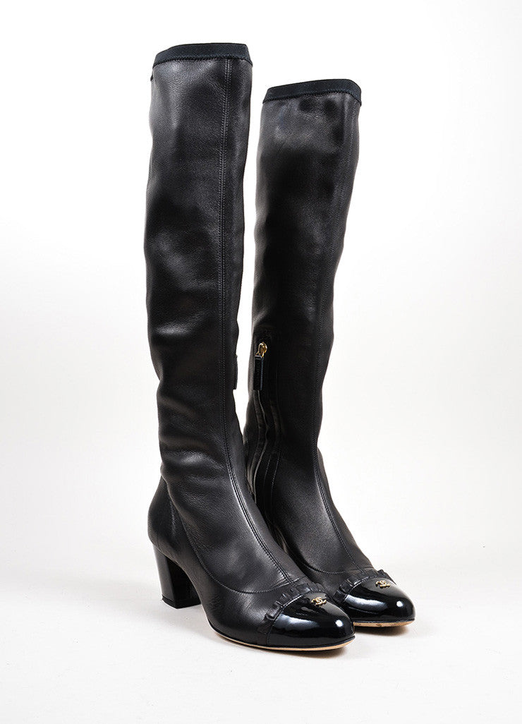 Black Chanel Calfskin Leather Patent Cap Toe Chunky Heel Tall Boots Frontview