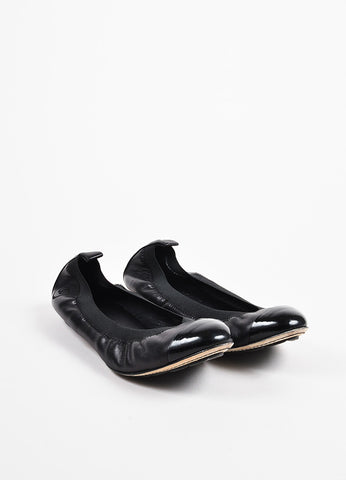 Chanel Black Leather Cap Toe Elastic Ballet Flats Front