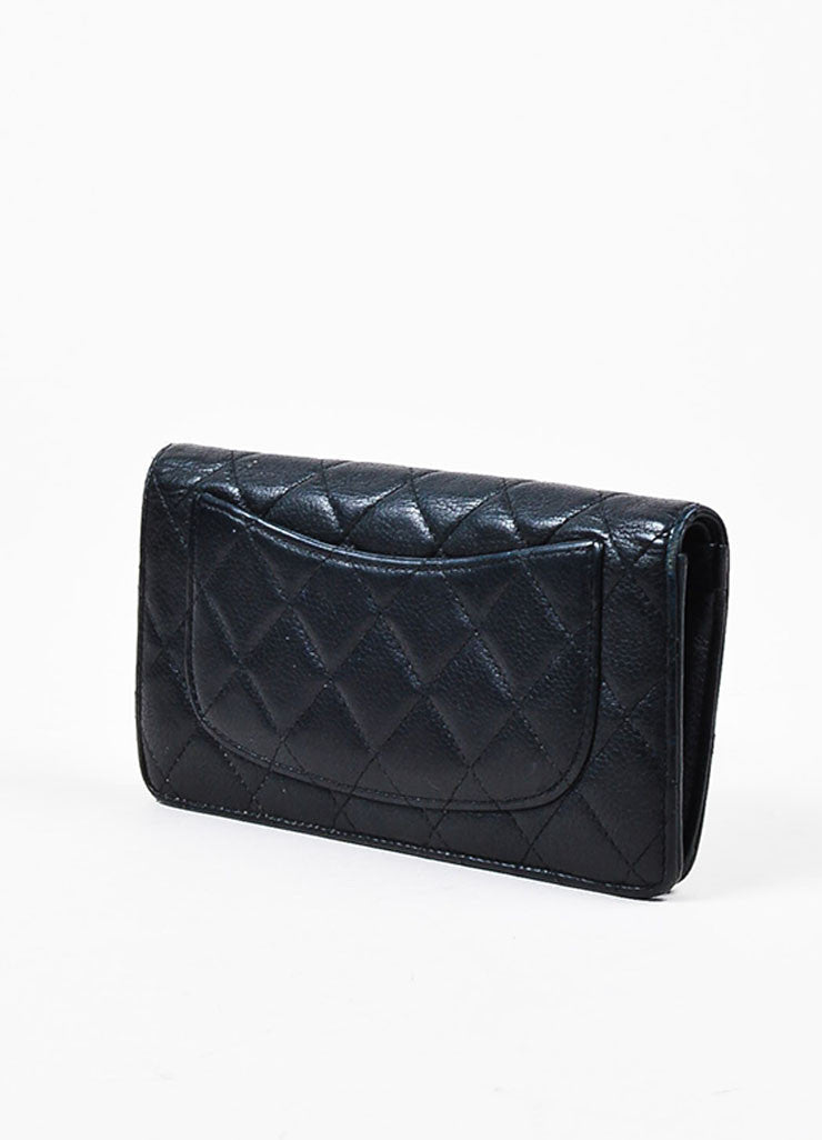 "Chanel Black Leather Quilted 'CC' Charm ""L Yen Holder"" Long Wallet Backview"