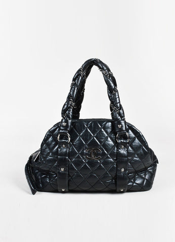 "Chanel Black Quilted Leather SHW ""Lady Braid"" Bowler Bag frontview"