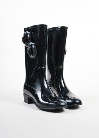Black Chanel Rubber Flower Accent Rain Boots Frontview
