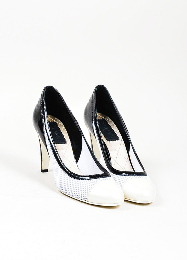 Black, White, and Cream Chanel Patent Leather Mesh Contrast Cap Toe Pumps Frontview