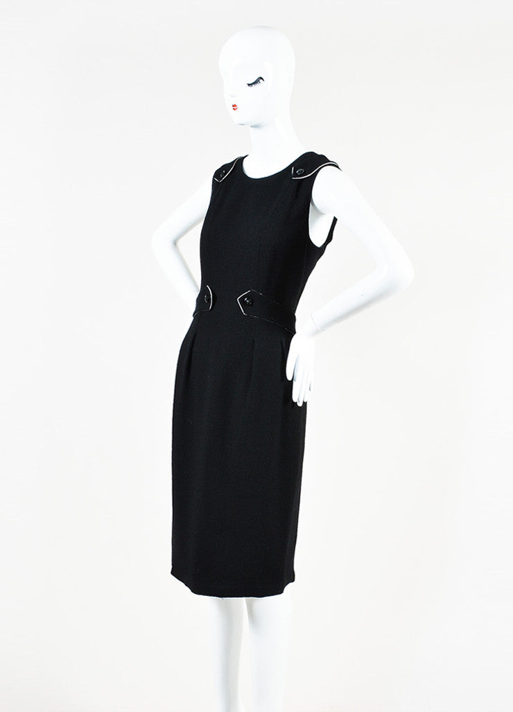 Black Chanel Wool Sleeveless Pave Crystal 'X' Button Dress Side