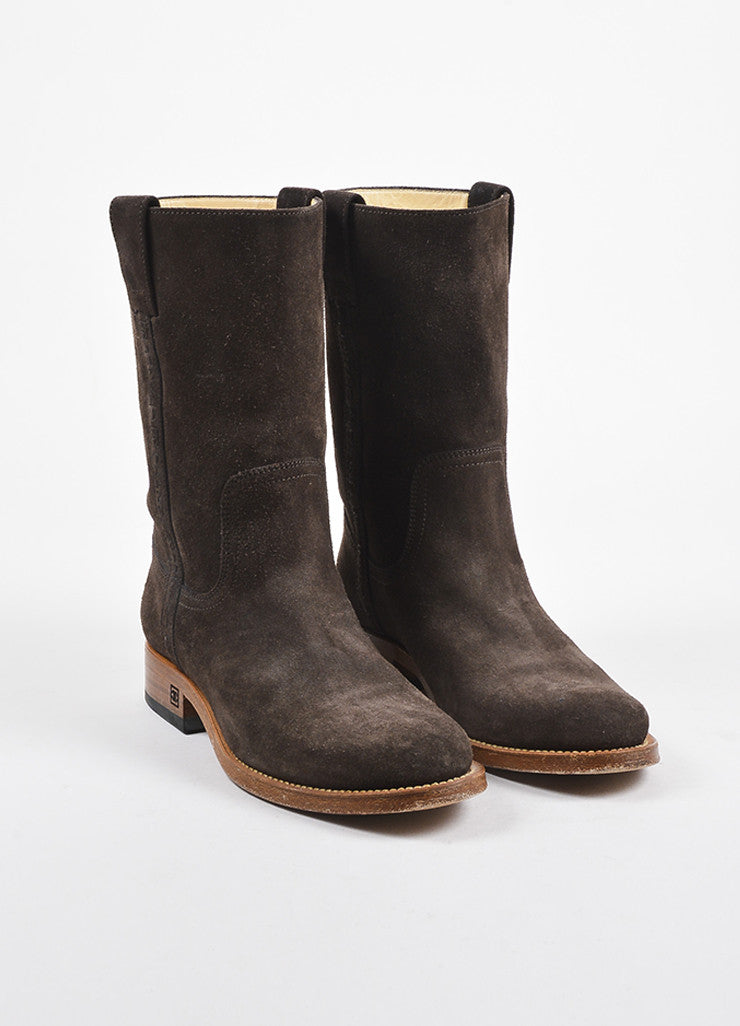 Chanel Brown and Tan Suede Logo Embossed Mid Calf Boots  Frontview