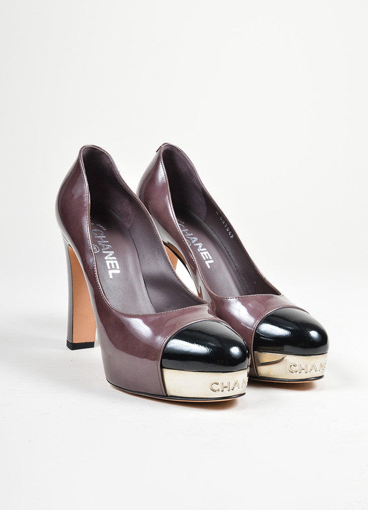 Dark Purple, Black, and Silver Chanel Patent Leather Metal Cap Toe Pumps Frontview