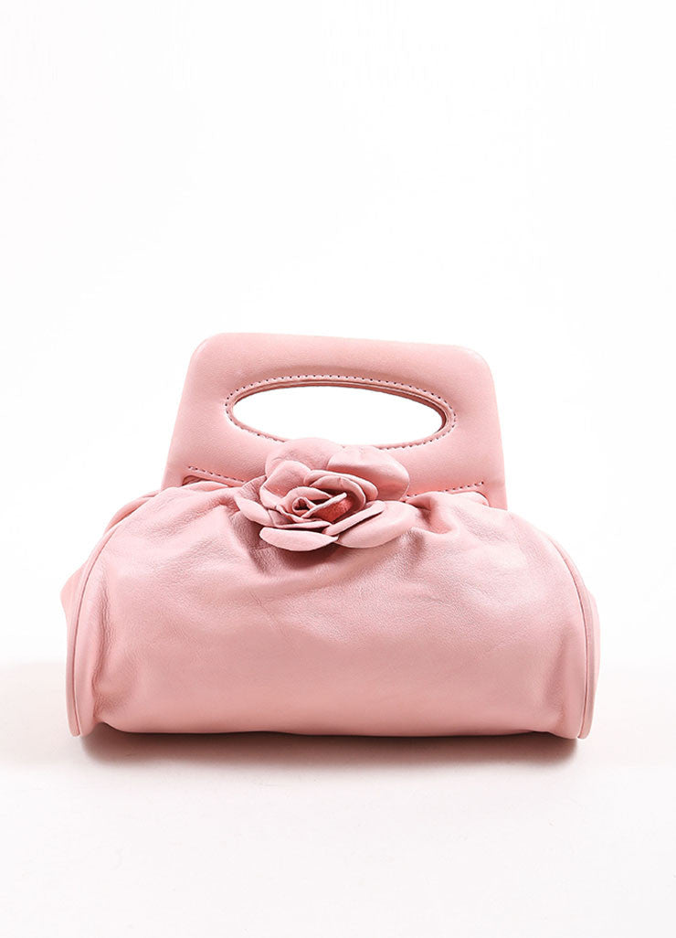 Chanel Light Pink Leather Camellia Flower Frame Handle Evening Bag Frontview