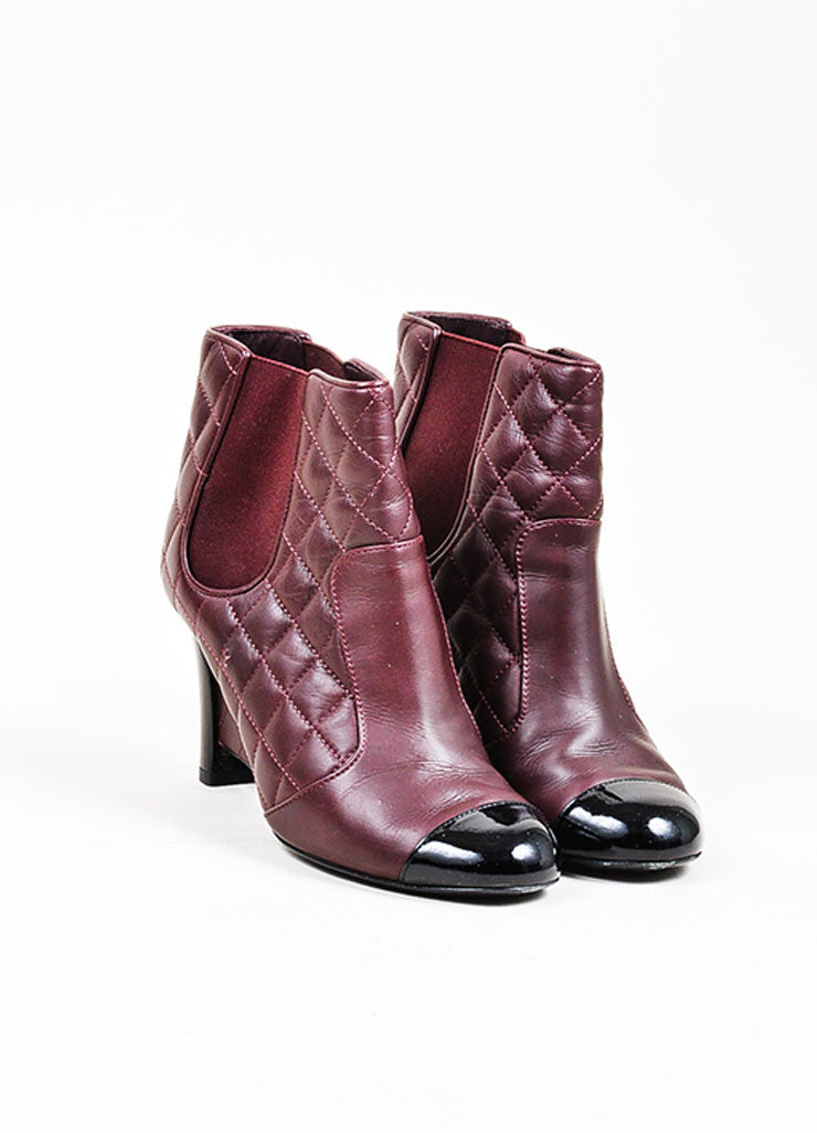 Maroon and Black Chanel Quilted Leather Patent Cap Toe Wedge Booties Frontview