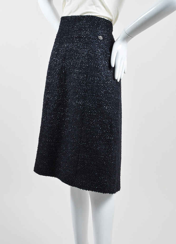 Navy Blue Chanel Wool Blend Tweed Pencil Skirt Sideview