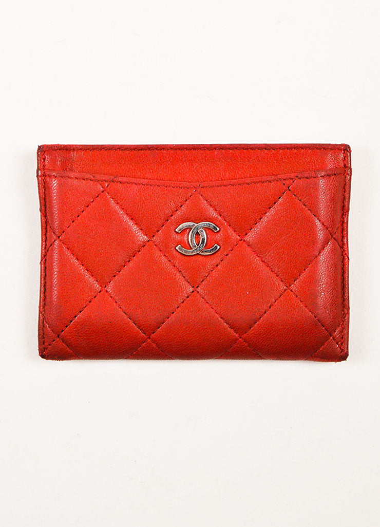 chanel card holder. chanel red lambskin leather quilted silver toned \u0027cc\u0027 cardholder frontview card holder