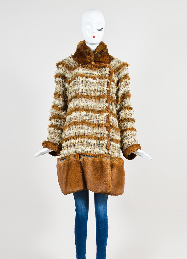 Brown and Cream Chanel Suede Tweed Striped Trim Fantasy Fur Coat Frontview 2