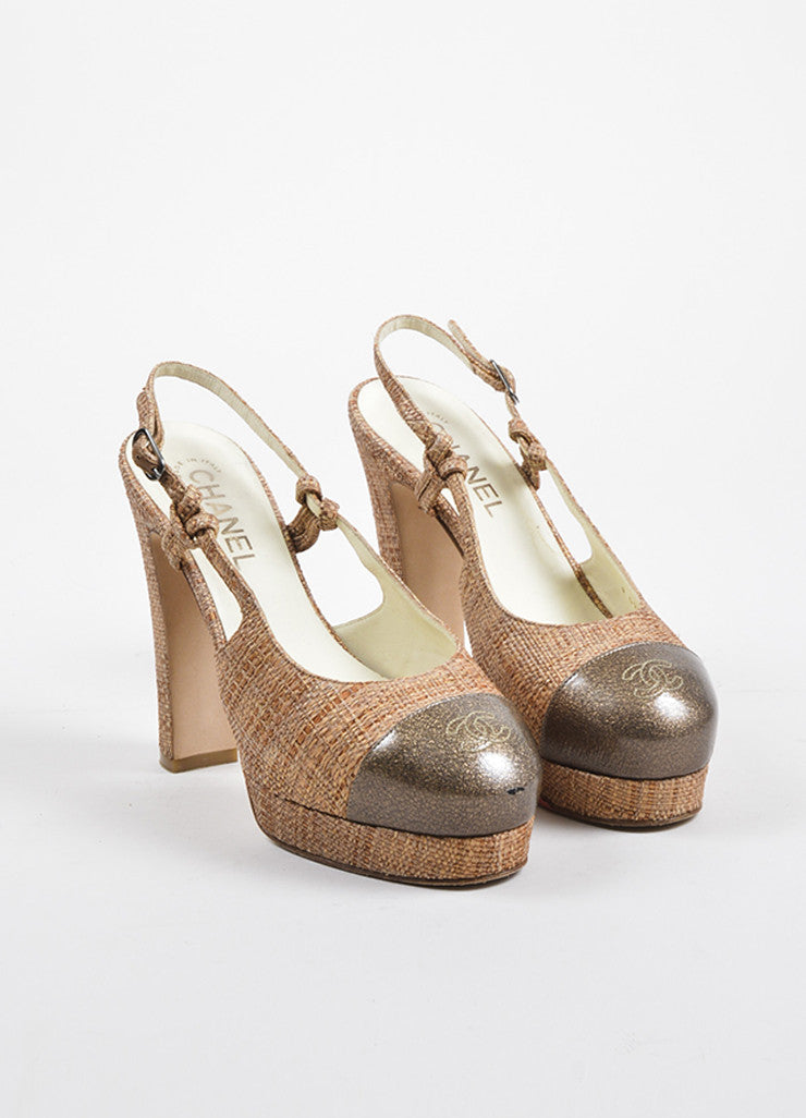 Tan Taupe Chanel Woven Straw Slingback Platform Heels