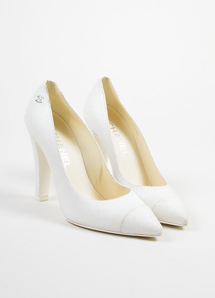 White Chanel Crackle Leather Pointed Cap Toe High Heel Pumps Frontview