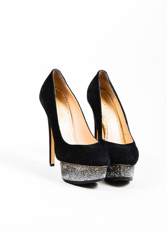 "Black Charlotte Olympia Suede Ultra High Heel ""Dolly"" Platform Pumps Frontview"