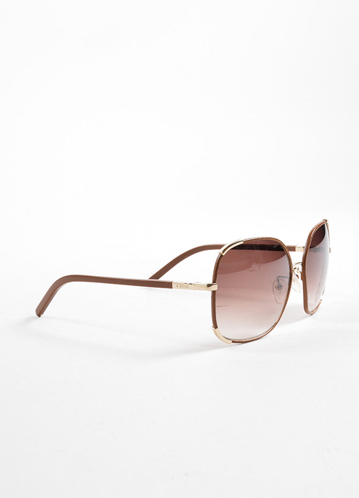 Chloe Brown and Gold Toned Oversized Sunglasses Sideview