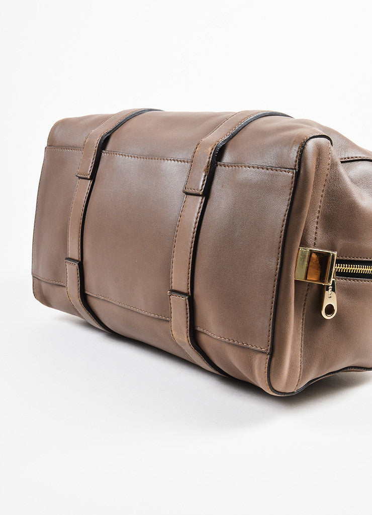 "Chloe Taupe Leather Duffle Satchel ""Madeleine"" Handbag bottom View"