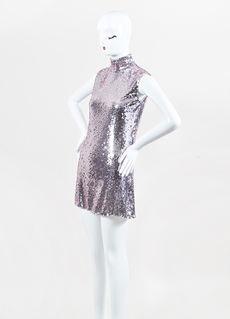 Christian Dior Pink Sequin Sleeveless Band Collar Shift Dress Sideview
