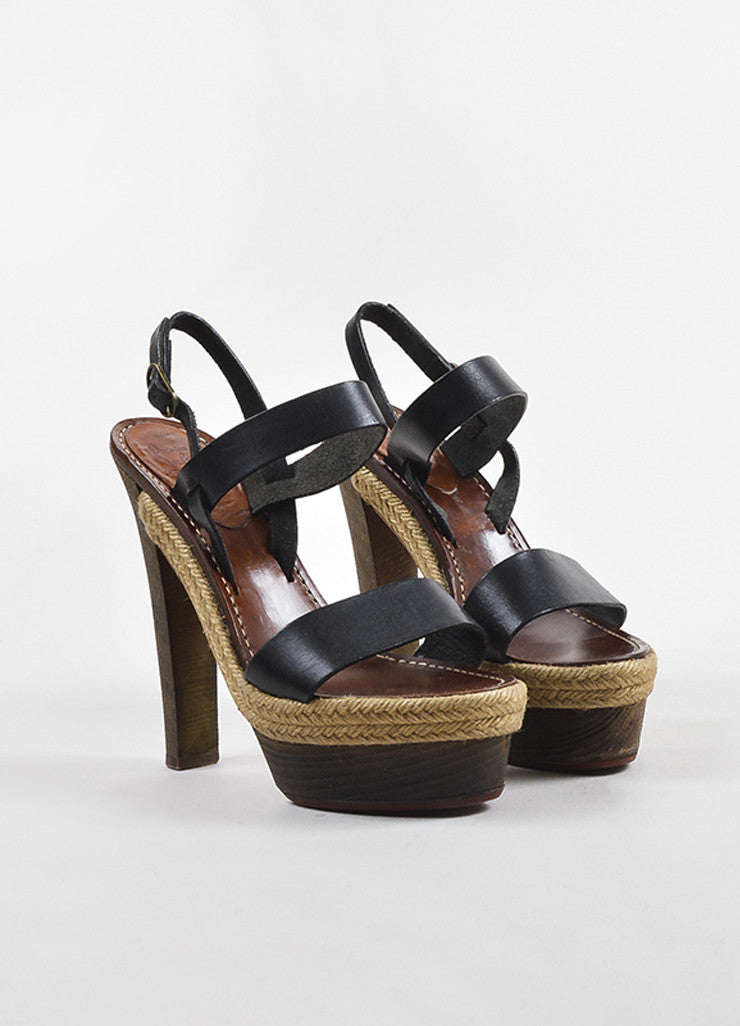 "Christian Louboutin Black Leather Wooden Heel Platform ""Satrinxa"" Sandals Frontview"