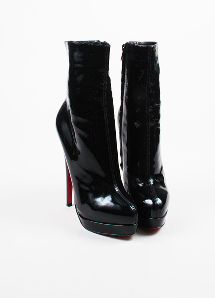 Christian Louboutin Black Patent Leather Almond Toe Mid Calf Stiletto Boots Frontview