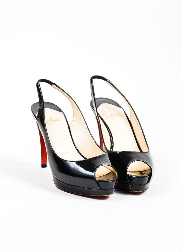 "Black Christian Louboutin Patent Leather ""Cathay 100"" Slingback Pumps Frontview"