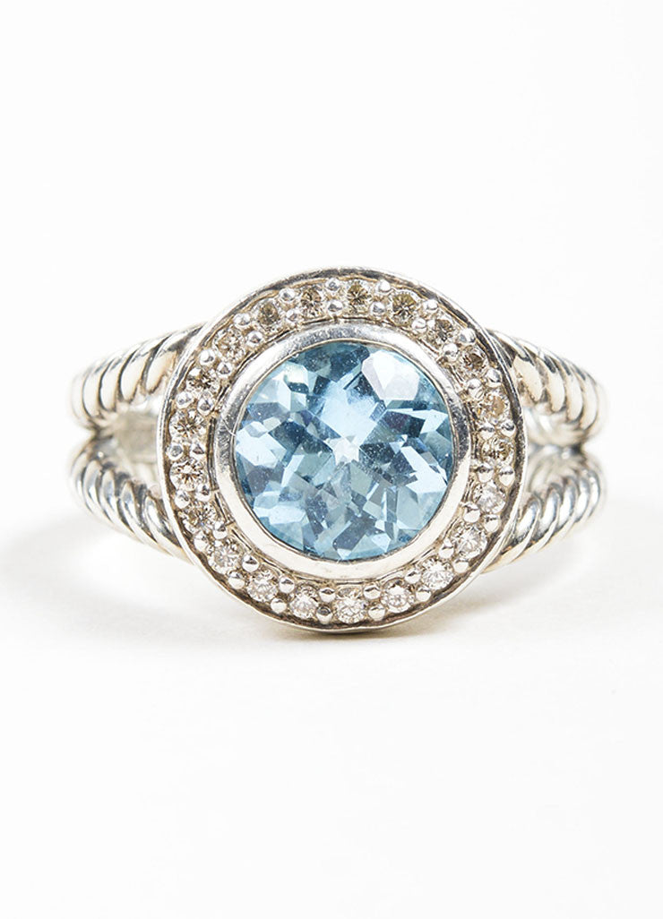 Sterling Silver David Yurman Blue Topaz Ring Front