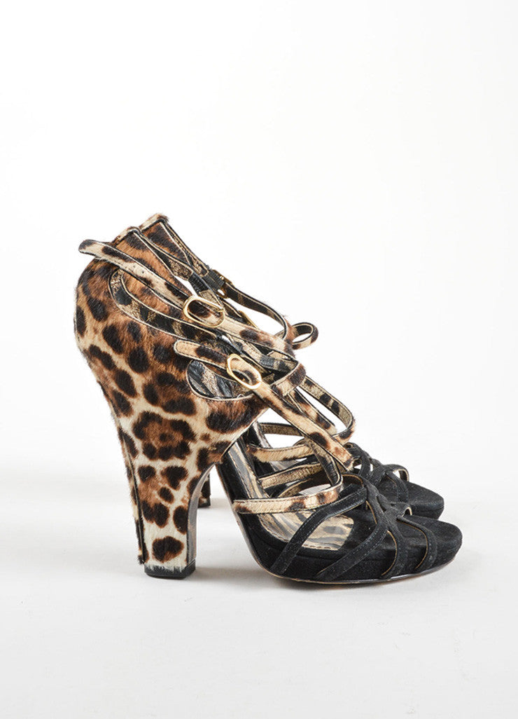 Dolce & Gabbana Black Suede Pony Hair Leopard Strappy High Heel Sandals Sideview