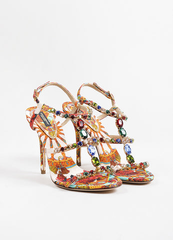 Dolce & Gabbana Multicolor Silk Print Jeweled Strappy Sandals Frontview