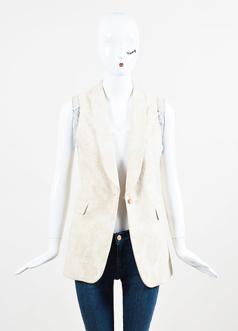 Dries Van Noten Cream and Grey Cotton Blend Brocade Single Button Vest Frontview